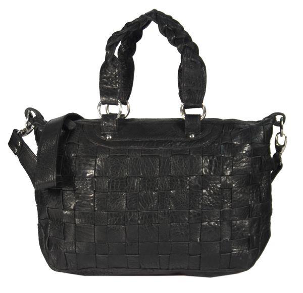 Celaviso - Ledertasche Shopper Schultertasche Flecht-Optik Used-Look Geflochten MEDITERRAN URBAN BAG Damen Handtaschen Henkeltaschen 40x24x10 cm (B x H x T) – Bild 1