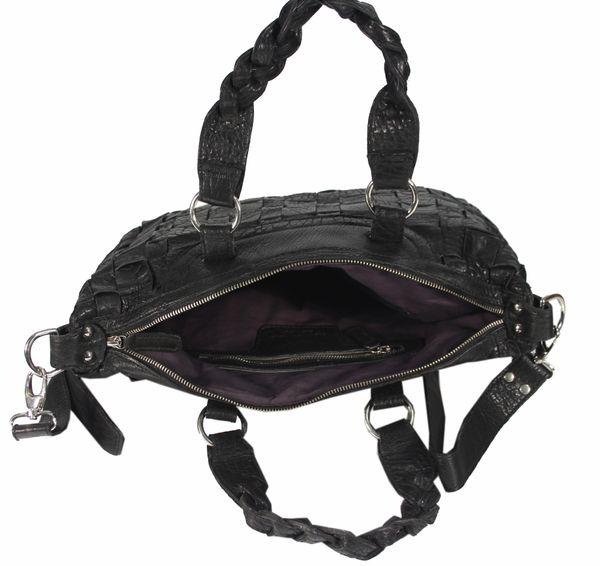 Celaviso - Ledertasche Shopper Schultertasche Flecht-Optik Used-Look Geflochten MEDITERRAN URBAN BAG Damen Handtaschen Henkeltaschen 40x24x10 cm (B x H x T) – Bild 4