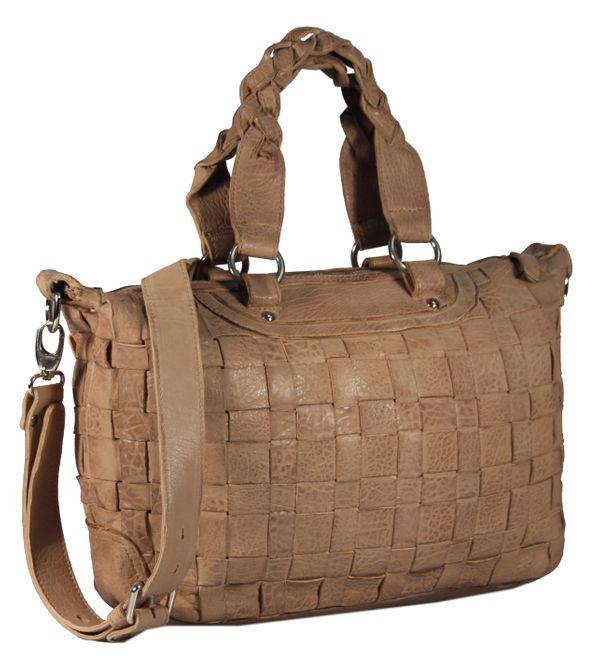 Celaviso - Ledertasche Shopper Schultertasche Flecht-Optik Used-Look Geflochten MEDITERRAN URBAN BAG Damen Handtaschen Henkeltaschen 40x24x10 cm (B x H x T) – Bild 6