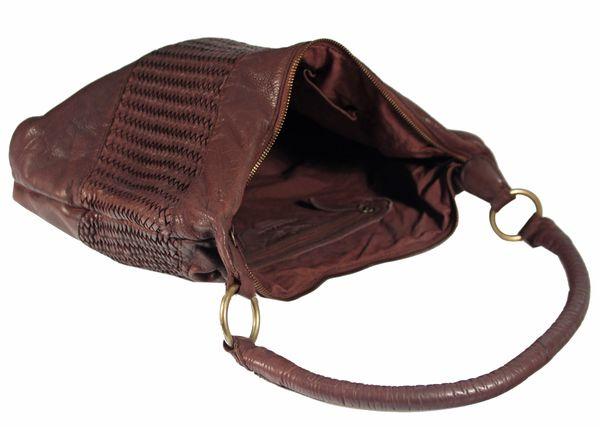 Corvago - Leder Schultertasche Henkeltasche URBAN BAG feiner Flecht-Optik Used-Look Geflochten Shopper MittelFormat Beuteltasche 40x28x8 cm (B x H x T) – Bild 8