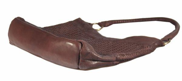 Corvago - Leder Schultertasche Henkeltasche URBAN BAG feiner Flecht-Optik Used-Look Geflochten Shopper MittelFormat Beuteltasche 40x28x8 cm (B x H x T) – Bild 7