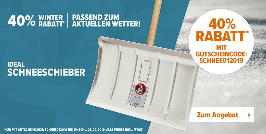 Sichern Sie sich passend zur aktuellen Wetterlage, unseren Leichtmetall Schneeschieber für nur 9,99€. Mit unserem Gutscheincode SCHNEE012019 sparen Sie 40% vom ursprünglichen Preis.
