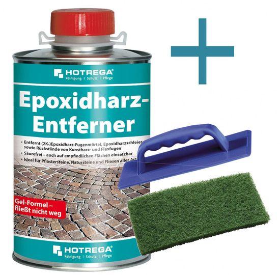 Epoxidharz Entferner 1L + Handpadhalter + Handpad grün 11 x 25 cm