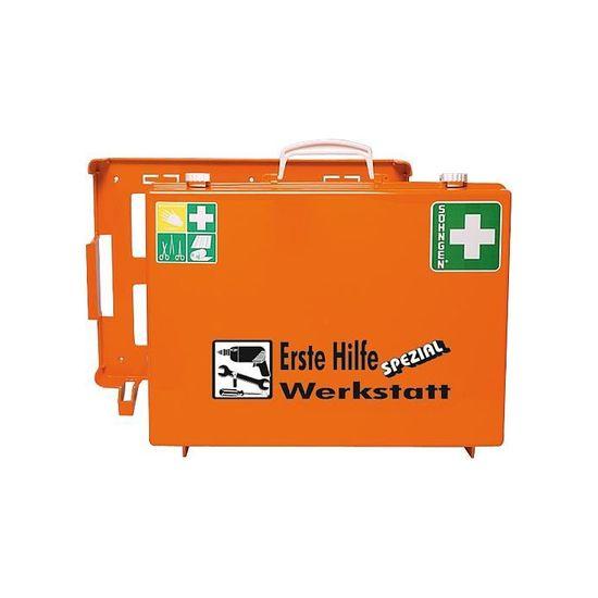 Erste-Hilfe-Koffer Werkstatt DIN 13157 mit Wandhalterung - gefüllt