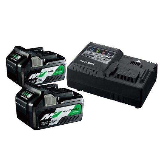 HiKOKI HITACHI Booster Pack Multi Volt 36 UC18YSL3WEZ, 2 Akkus 2,5 Ah, Ladegerät