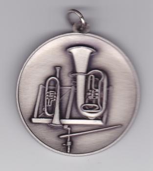 Medaille für Blasorchester (mit Öse und Ring), altsilber, 50 mm Ø
