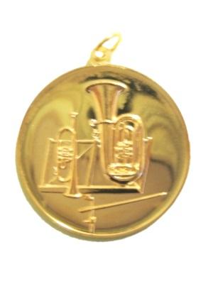 Medaille für Blasorchester (mit Öse und Ring), gold, 50 mm Ø