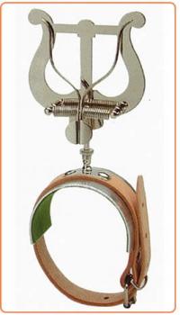 Marschgabel Flöte, Lyra mittel, mit Lederband und Platte