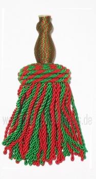 Tambourstab-Einzelquaste für ROYAL-Tambourstab, Rot/Grün