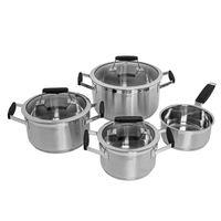 Rösle 13545 Gourmet Pro Edelstahl Topfset mit Silikongriffen 7-tlg. 3 Kochtöpfe, Stielkasserolle + 3 Deckel – Bild 1