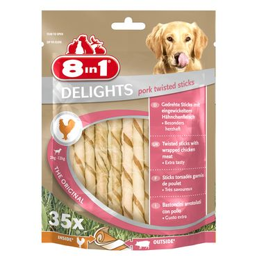 8in1 Delights Pork Twisted Sticks 35 Stück