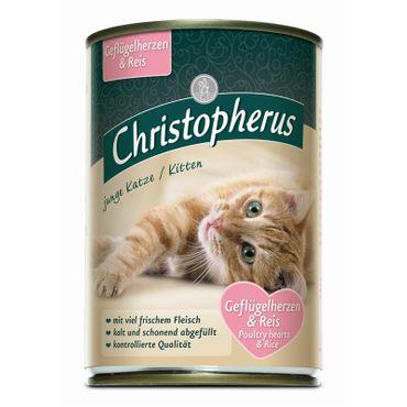 Christopherus Cat Dose junge Katzen Geflügelherzen & Reis 400g – Bild 1