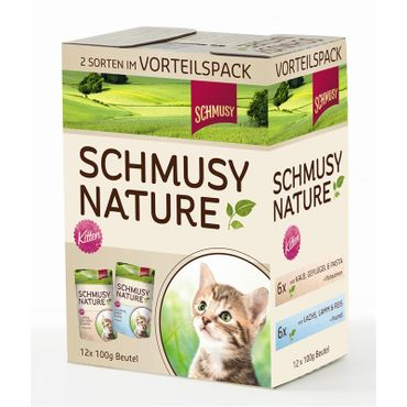 Schmusy Portionsbeutel Multibox Nature Kitten 12x100g