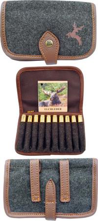 Patronenetui Munitionsetui aus Loden mit echtem Leder eigefasst im Jagdartikelshop Bandemer kaufen