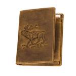 Herren Portemonnaie in Hochformat aus feinstem Antikleder mit Jagdmotiv Hirsch