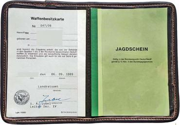 Jagdschein Etui grün Nadelfilz Wbk Etui Jagdscheintasche Mappe Dokumententasche im Jagdartikelshop Bandemer kaufen