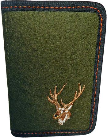 Jagdscheinetui aus Nadelfilz, grün, mit Stickerei Hirschkopf, für Österreich und Polen im Jagdartikelshop Bandemer kaufen