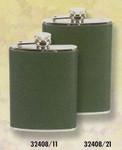 Edelstahlflasche Naturleder mit grüner Lederhülle