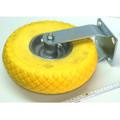 Rolle Rad Bockrolle 260 mm 100 kg aus Vollgummi PU gelb Stahlfelge pannensicher Bild 2