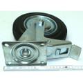Rolle Lenkrolle Rad mit Bremse Bremsrolle 200 mm Gummi Stahlfelge 180 kg Last Bild 5