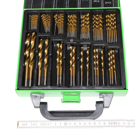 99 Stück Bohrer Stahlbohrer Metallbohrer HSS Titan beschicht 1,5 b 10 mm Koffer