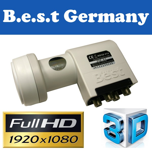 LNB Quattro 0,1 dB Best-Germany HDTV HD 3D Digital tauglich