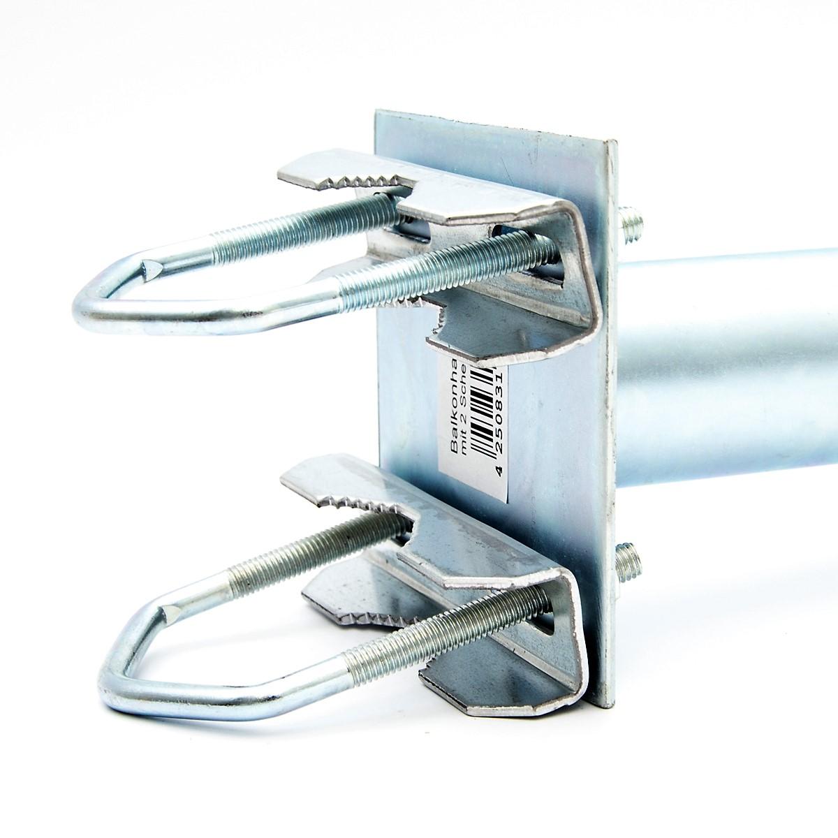 PremiumX 25cm Balkonausleger Stahl Geländerhalter SAT Antenne Balkon-Mast-Halter Ausleger L-Form