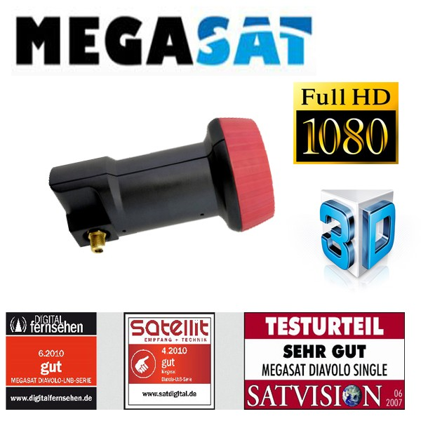 LNB Single 0.1 dB Megasat Diavolo FULLHD 3D 60dB High Gain