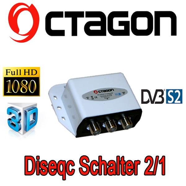 DiseqC-Schalter 2/1 Octagon ODS 21-03 Optima mit Wetterschutzgehäuse HDTV FullHD 3D tauglich NEU