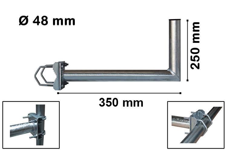 PremiumX 35cm Balkonausleger Stahl Geländerhalter SAT Antenne Balkon-Mast-Halter Ausleger L-Form