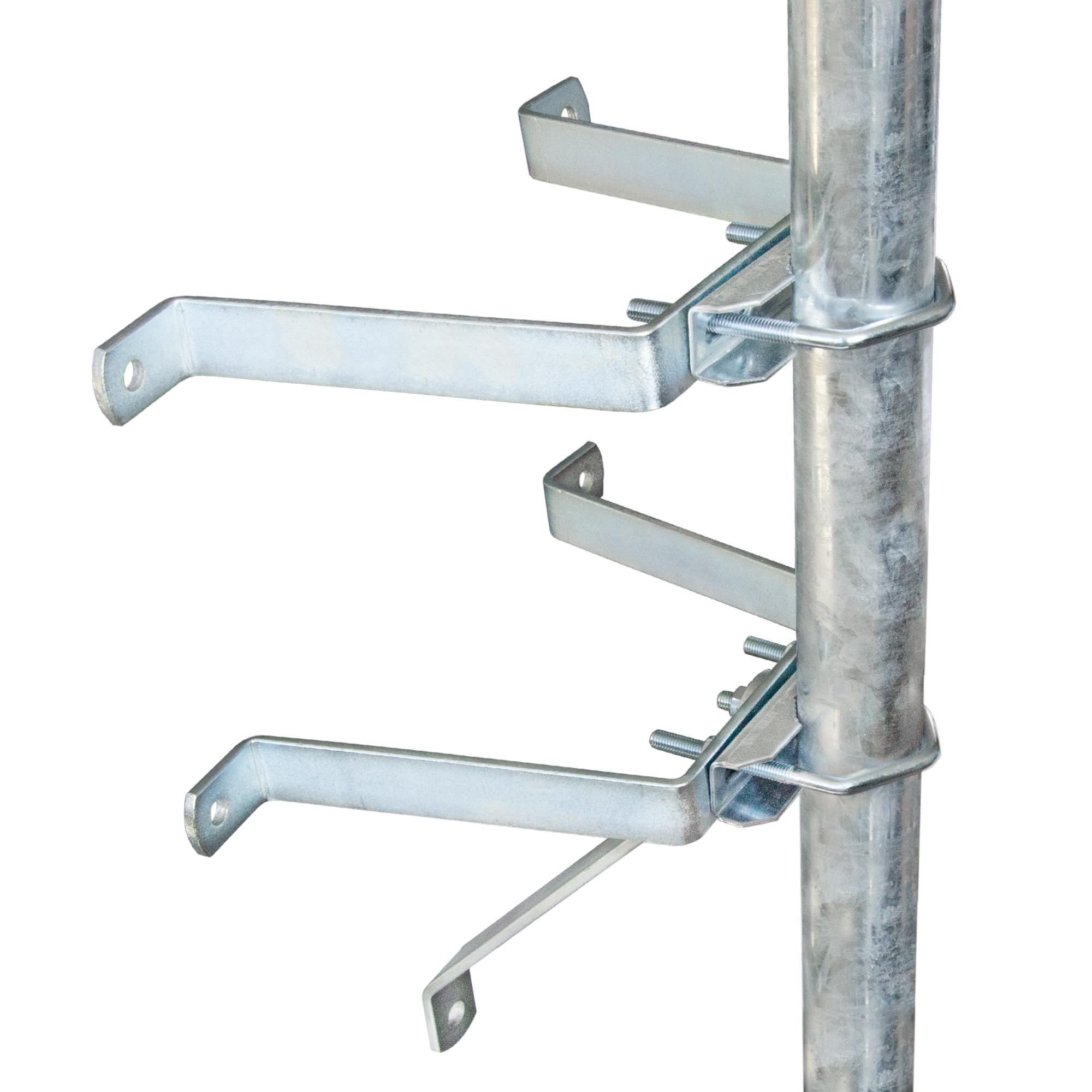 PremiumX 20cm Sat-Mauerhalter Wandabstandshalter für Mast bis Ø 60mm aus verzinktem Stahl Wandabstand 20 cm