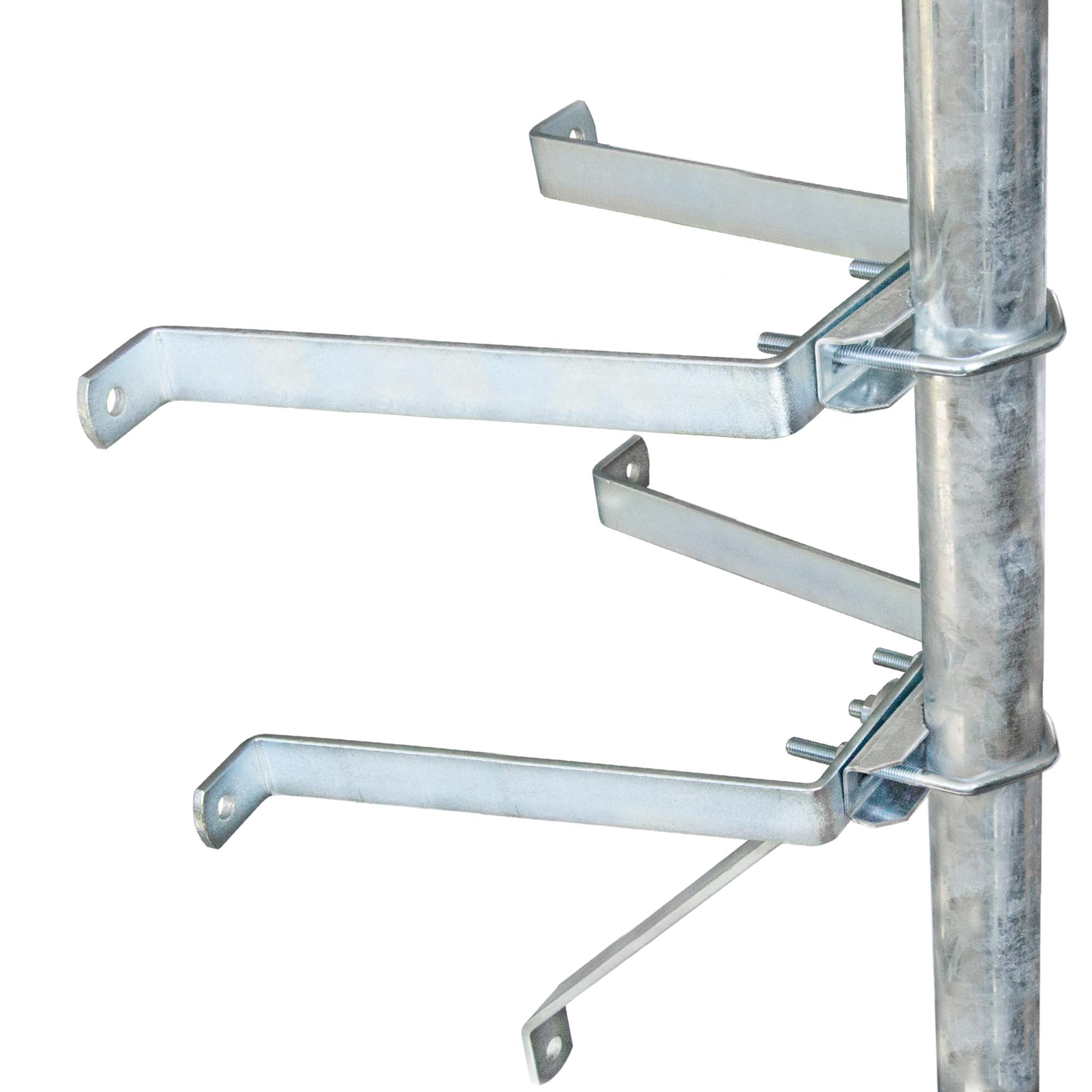 PremiumX Sat-Mauerhalter Wandabstandshalter Wandabstand 30cm für Mast bis Ø 60mm aus verzinktem Stahl