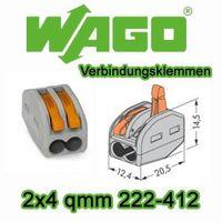 50 Stück WAGO Verbindungsklemmen 2x4 qmm 222-412