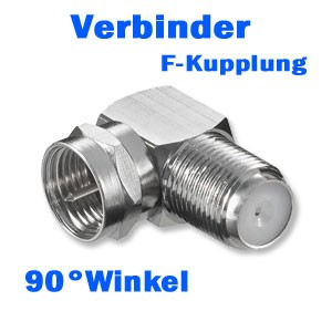 PremiumX F-Stecker F-Kupplung 90° Winkel Verbinder WE 1166 W LC Push-On-Stecker SAT-Adapter