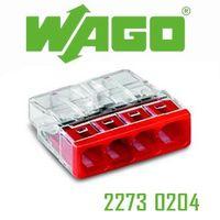 100 Stück WAGO Verbindungsdosenklemmen Serie 2273 4x0,5-2,5 qmm, rot 2273-204 – Bild 2
