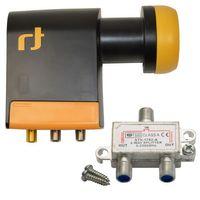 LNB Quad 0,2 dB Inverto Black Pro Unicable IDLB-QUDL42-UNI2L-1PP Unikabel + V-2 Satverteiler 2-fach – Bild 1