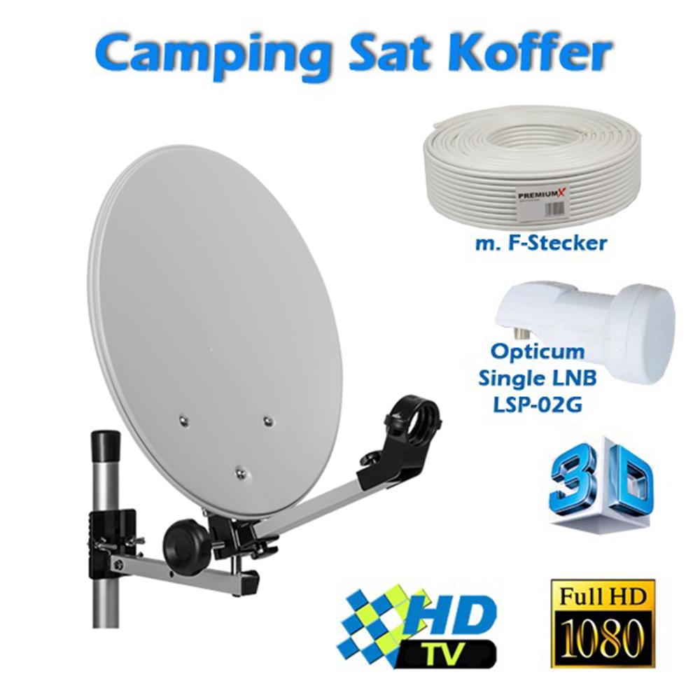 Camping SAT Koffer Anlage Komplett Set: 1x Opticum Single LNB 0,1dB + 10m Kabel inkl F-Stecker + 1,5m Scart Kabel