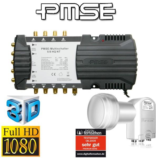 Multischalter PMSE 5/8 mit Netzteil + Quattro LNB 0,1 dB + F-Stecker FullHD HDTV 3D tauglich NEU