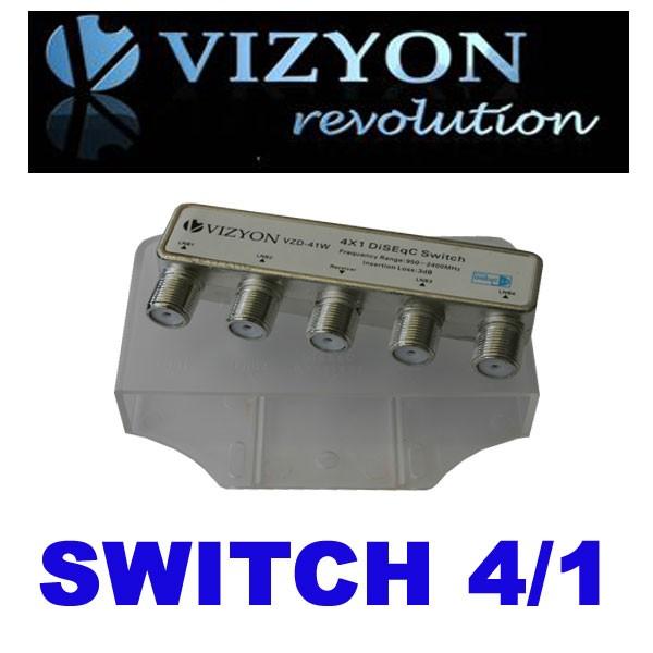 Vizyon VZD-41W DiSEqC Schalter 4/1 HDTV Full HD NEU