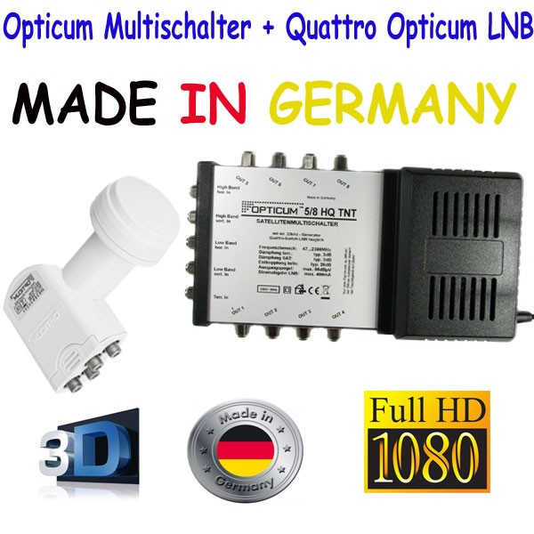 Opticum 5/8 Multischalter+Quattro Opticum LNB 0,1dB LRP-04H inkl. 24x 7,5mm F-Stecker NEU