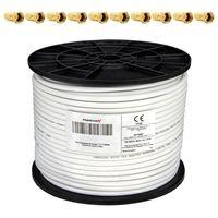 Koaxial Kabel 130 dB 100 Meter Rolle 130 dB 1,0mm Innenleiter FullHD HDTV 3D tauglich 4-fach geschirmt NEU