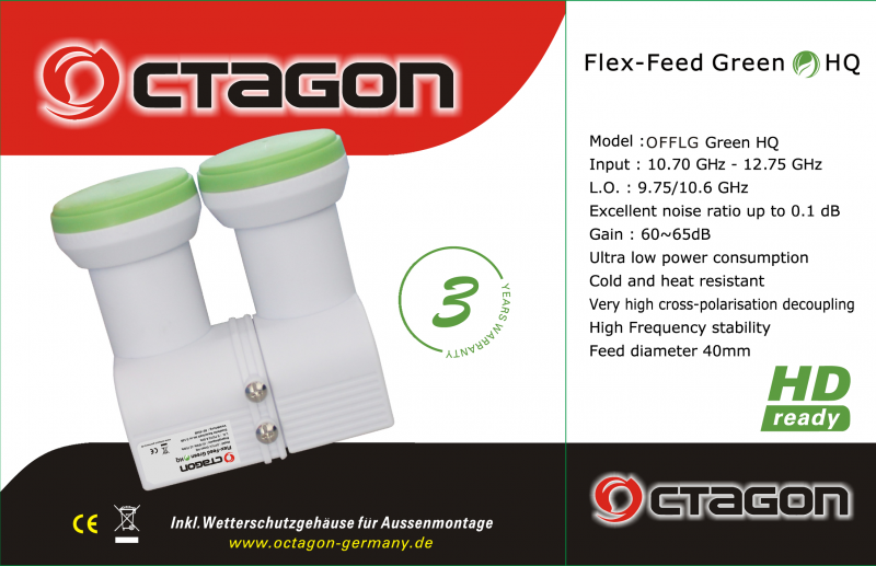 Octagon Monoblock Flex-Feed Green Single LNB 0.1dB HQ OFFLG flexibel HDTV FullHD 3D 4K