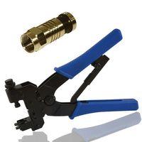 Kompressionszange Crimpzange + 50x F-Kompressionsstecker für Kabel Ø 7,4mm vergoldet – Bild 1