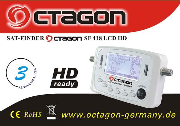 Octagon SF 418 HQ Satfinder LCD HD HDTV FULLHD 3D Sat Finder ASTRA HOTBIRD TURKSAT EUTELSAT U.S.W NEU