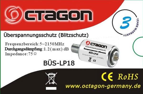 OCTAGON BÜS-LP18 Überspannungsschutz-Blitzschutz Lightning-Protector NEU