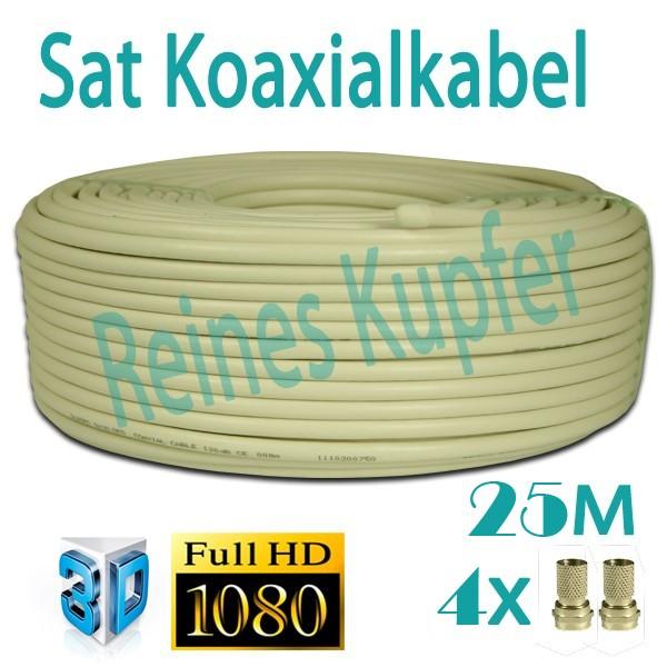 Sat Kabel Koaxialkabel 90dB reines Kupfer Innenleiter FULLHD 3D 25m + 4x F-Stecker 7mm