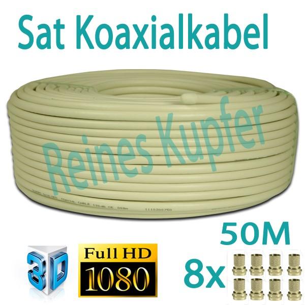 Sat Kabel Koaxialkabel 90dB reines Kupfer Innenleiter FULLHD 3D 50m + 8x F-Stecker 7mm