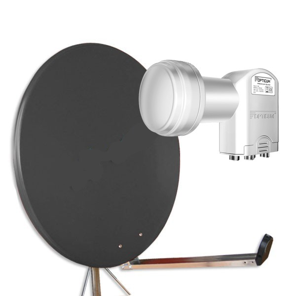 Antenne Gibertini 85 cm Alu Anthrazit L-Serie + Quad Opticum LNB Digital 0,1db