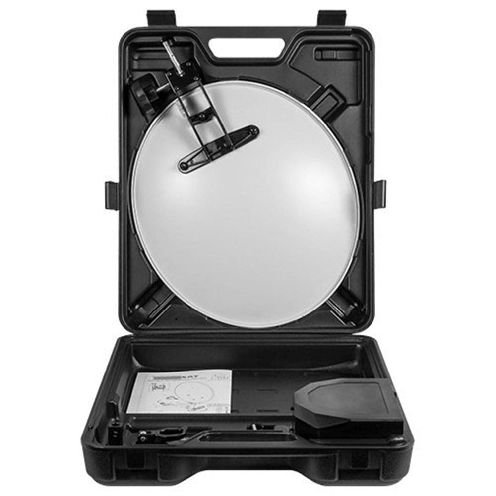 PremiumX PX35 Camping Sat 35 cm Stahl Anthrazit + HDMI Kabel + Opticum Single LNB 0,1db
