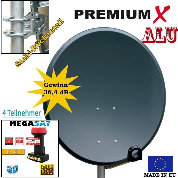 Antenne 60cm Sat Schüssel aus ALU FullHD HDTV Satelliten Camping Spiegel 60 cm Anthrazit + Megasat Quad LNB 0,1dB